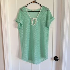 Francesca's Mint Green Swim Cover Up Medium/Large